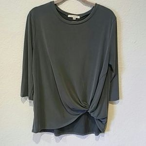 Green Envelope knotted front Top